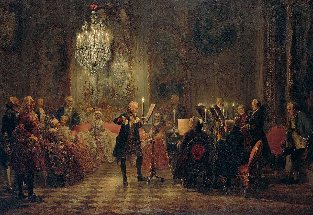 Flötenkonzert Friedrichs des Großen in Sanssouci - Adolph Menzel